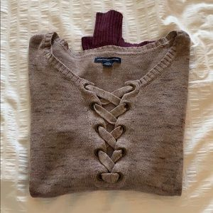 Lace-up front dip-dye sweater